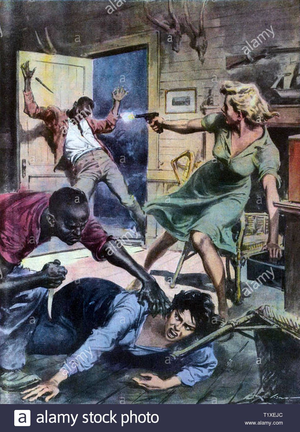 mau mau uprising 1952 1960 italian magazine illustration of kitty heselburger at right and her friend defending themselves against attack in 1953